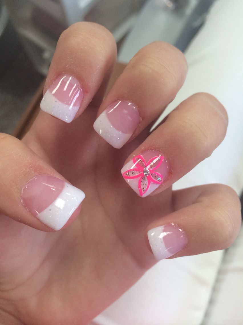 Acrylic White Tips With Pink Flower Accent Nail White Tip Nails Pink Acrylic Nails Beach Nails
