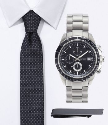 e115512a4b7de3 Gray Accessories Gift  Checkered Skinny Silk Tie   Chronograph Stainless  Steel Watch - Express Men