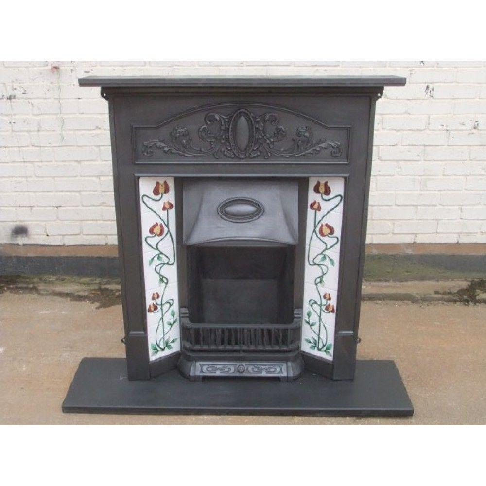 Antique Vintage Bedroom Fireplace: 216 Art Nouveau Original Antique Cast Iron Edwardian Victorian Fireplace With Tiles