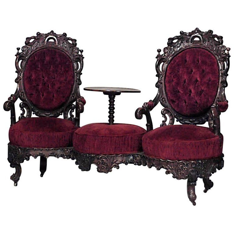 Cheap Furnitures For Sale: American Victorian Rosewood Carved Double Swivel Seat Tête