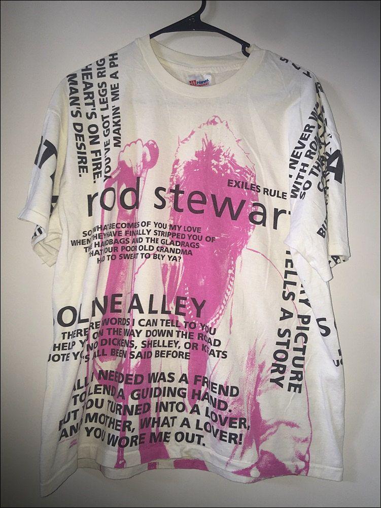 Vintage 90 39 S Rod Stewart All Over Print Lyrics Shirt Size Xl Lyric Shirts Shirt Size Print