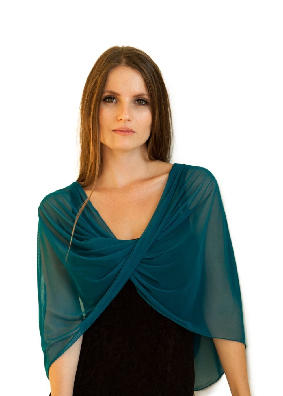 Teal Sheer Infinity Shawl Shrug | Sew: Garments: Fancy ...
