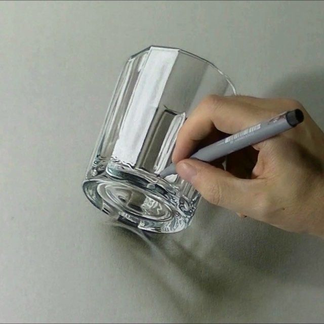Empty glass, mixed media on gray paper, timelapse drawing:  https://youtu.be/ldMydxuunNg?list=PLEKv0jWmqLM3uGkCTtLBn6Gof2WRe6n7 #drawingvideo#marcellobarenghi#illustration#glass#hyperrealism#trompeloeil