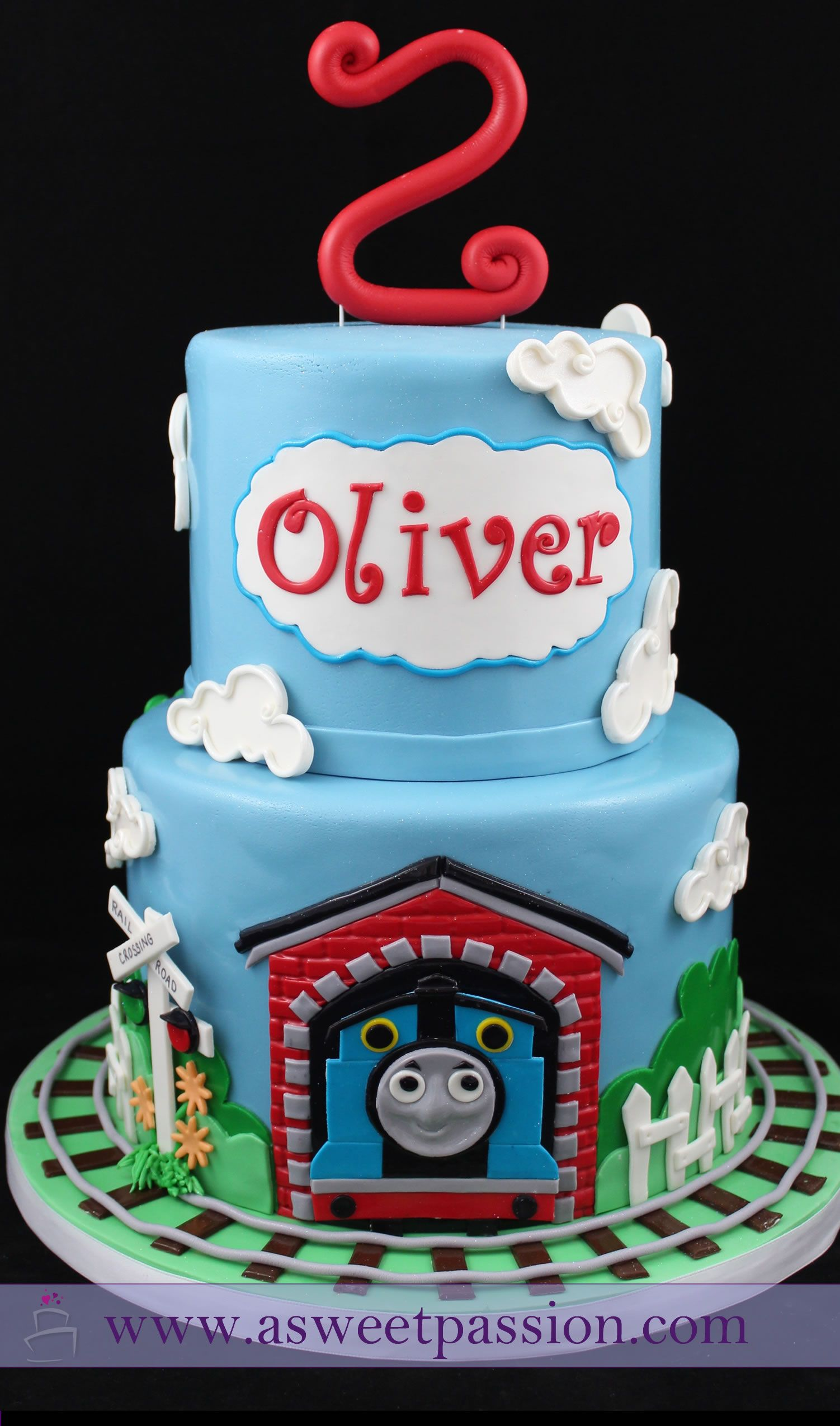 Prime A Thomas The Tank Engine Birthday Cake For A Very Sweet 2 Year Old Funny Birthday Cards Online Hendilapandamsfinfo