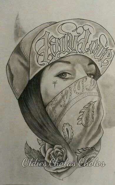 chicano Swag style girl drawing