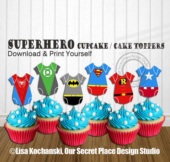 Instant Download Superhero Baby Shower Decorations Superhero Baby