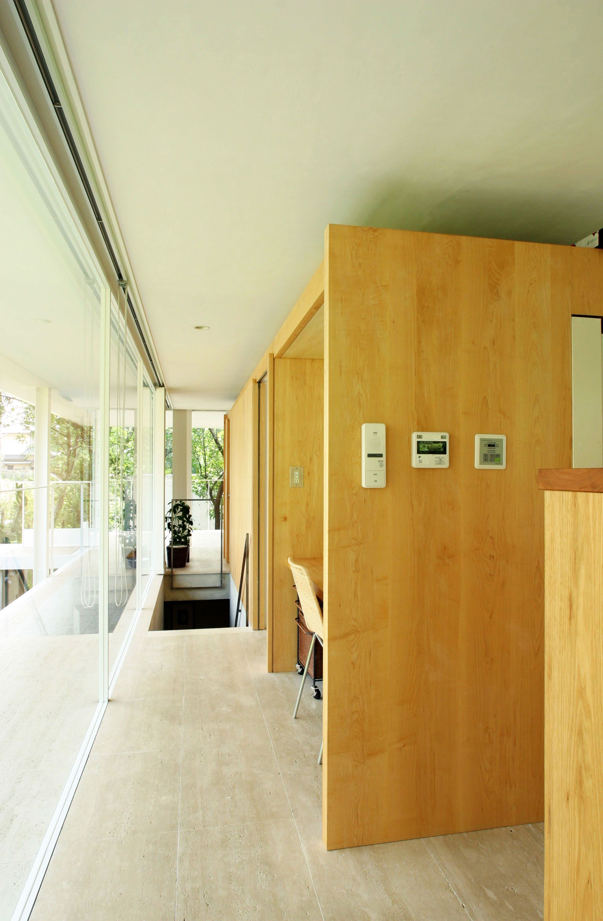 Interior, Bright Hallway Completed With Glass Wall And Wooden ...