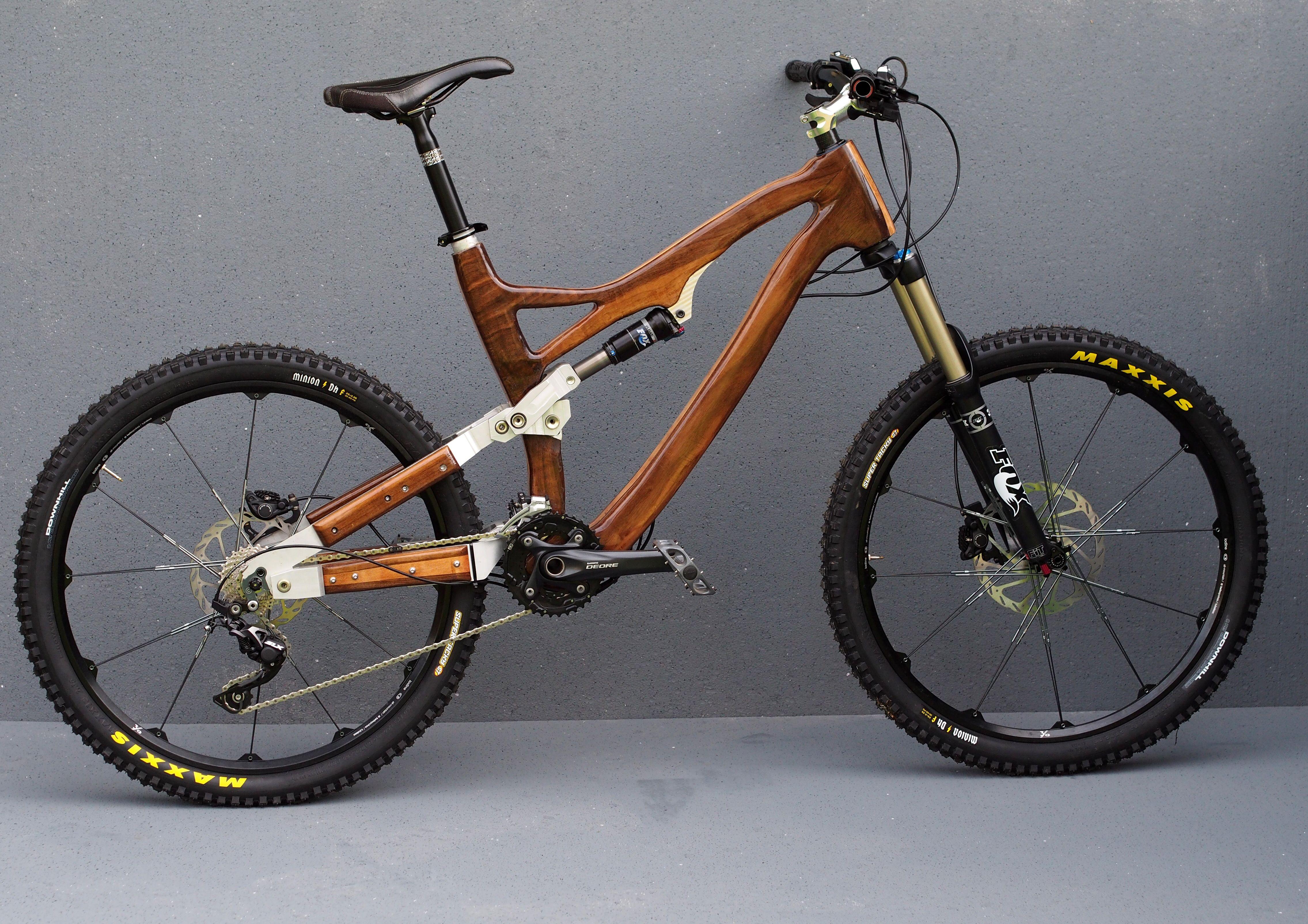 Full Suspension Mountain Bike Wooden Bicycle Wood Bike Folding