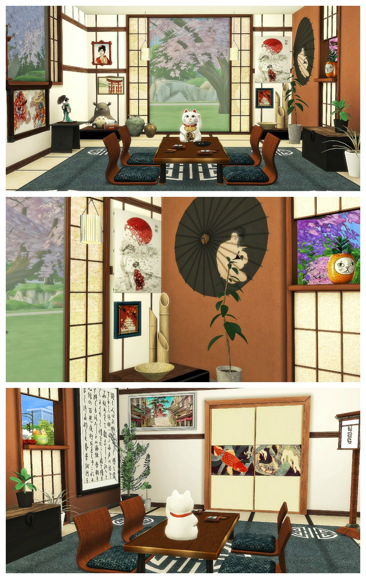 JAPANESE DINING ROOM | Sims 4 Decoration | My other obsession (sims ...