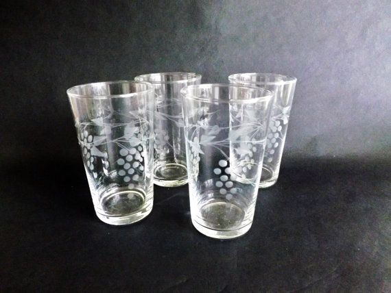 Vintage Etched Glass Tumblers Vine Leaf Drinking Glass High Ball Whisky Old Fashioned Juice Water Glassware Iced Tea Glass Barware Glassware Drinking Glass Tumbler