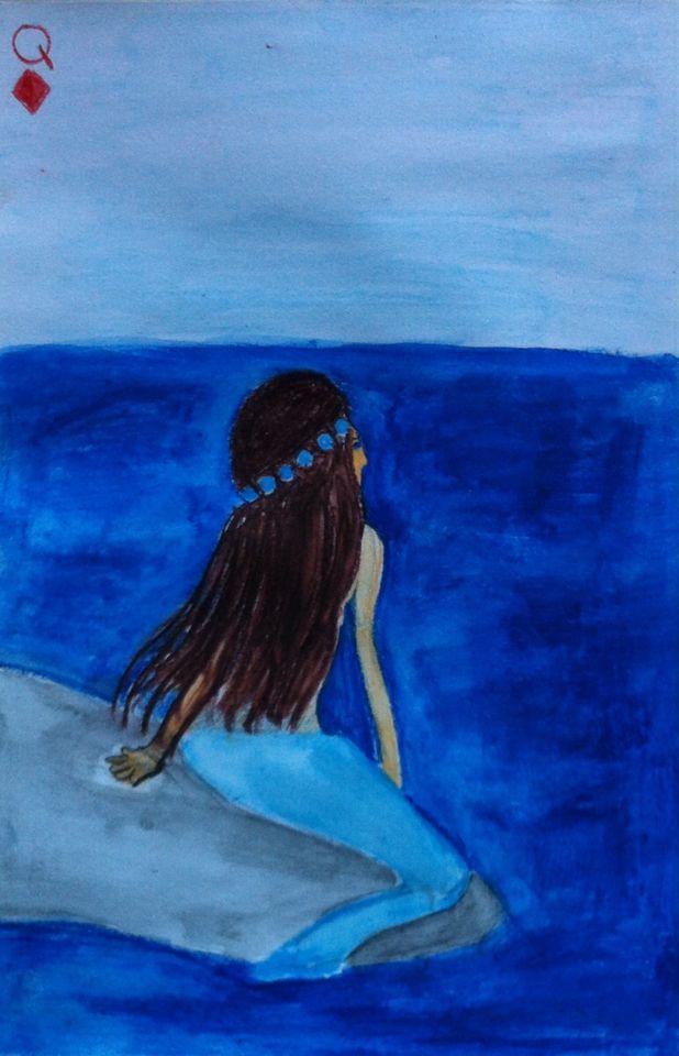 Queen Mermaid art card sea