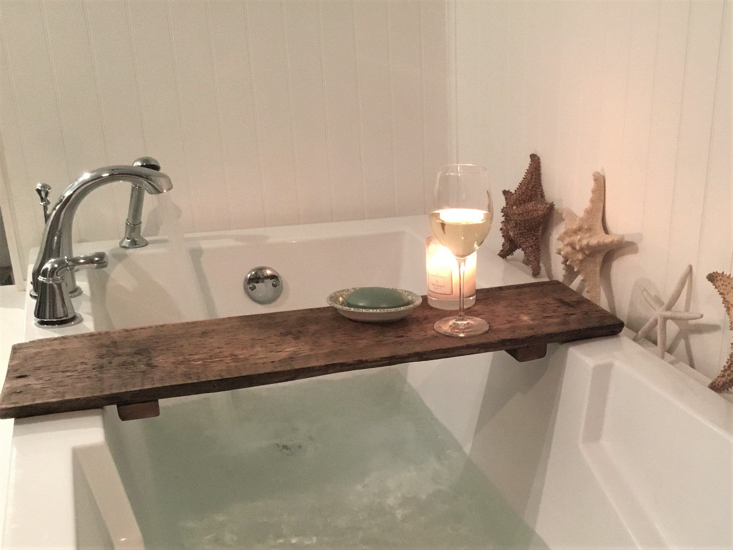 Bathtub Tray Reclaimed Barn Wood Rustic Style Bath Rack