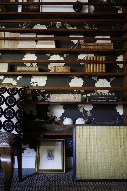 shelves + wallpaper