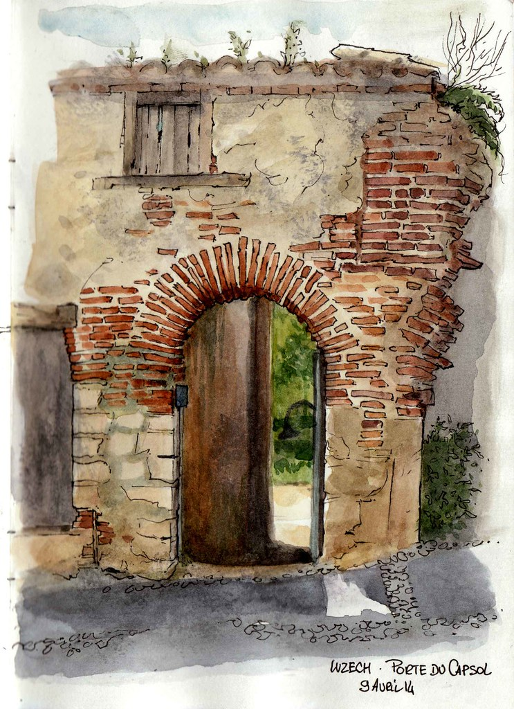 La Porte Du Capsol Une Taxe Encore Watercolor Architecture Watercolor Landscape Watercolor Art