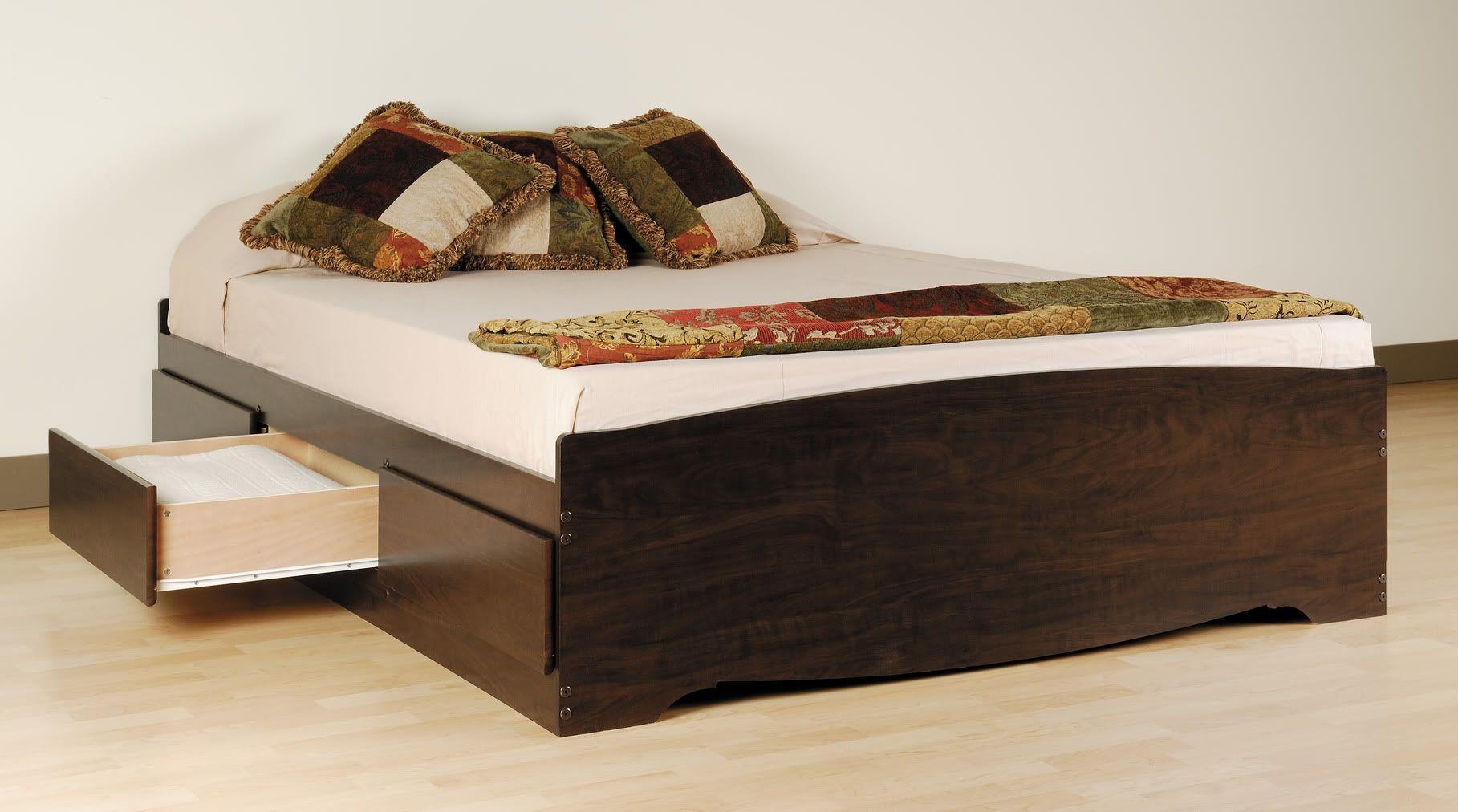 Prepac Manhattan Platform Storage Bed In Espresso Finish With Drawers Lowest Price Online On All
