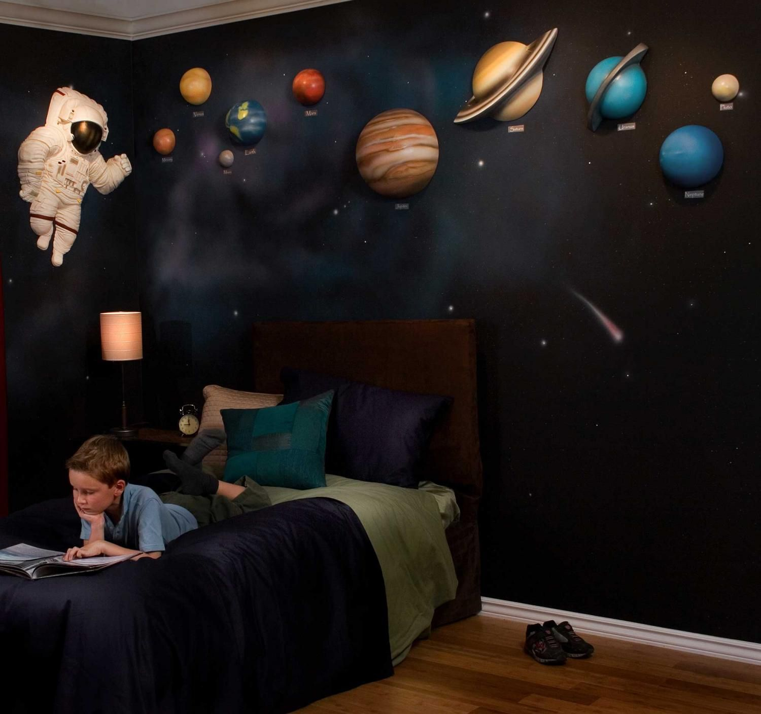 Solar system with space astronaut 3d wall art decor by for 3d wall designs bedroom