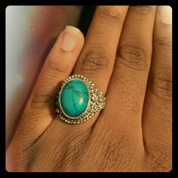 Teal Silver Gemstone Ring