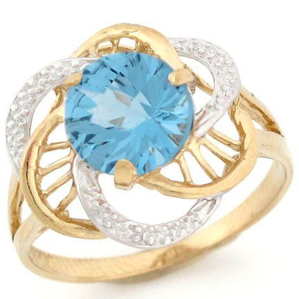 10k Two Tone Gold Synthetic Birthstone Ring - Fashion Jewelry