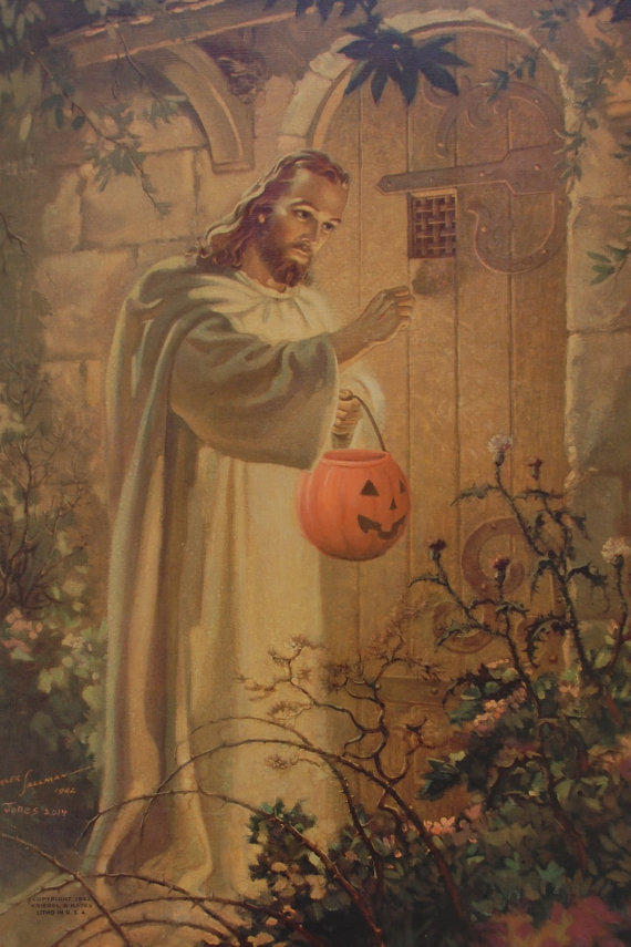 """4″ by 6″ postcard print, """"Trick or Treat"""" Altered Thrift Store Art"""