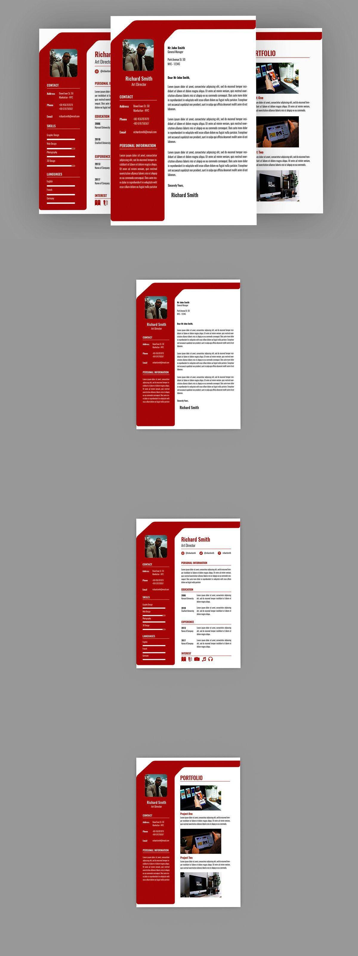 Red Professional Resume Designer in 2020 Professional