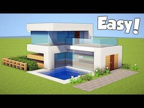Minecraft How To Build A Small Easy Modern House Tutorial 20 Minecraft Small House Minecraft Modern Easy Minecraft Houses