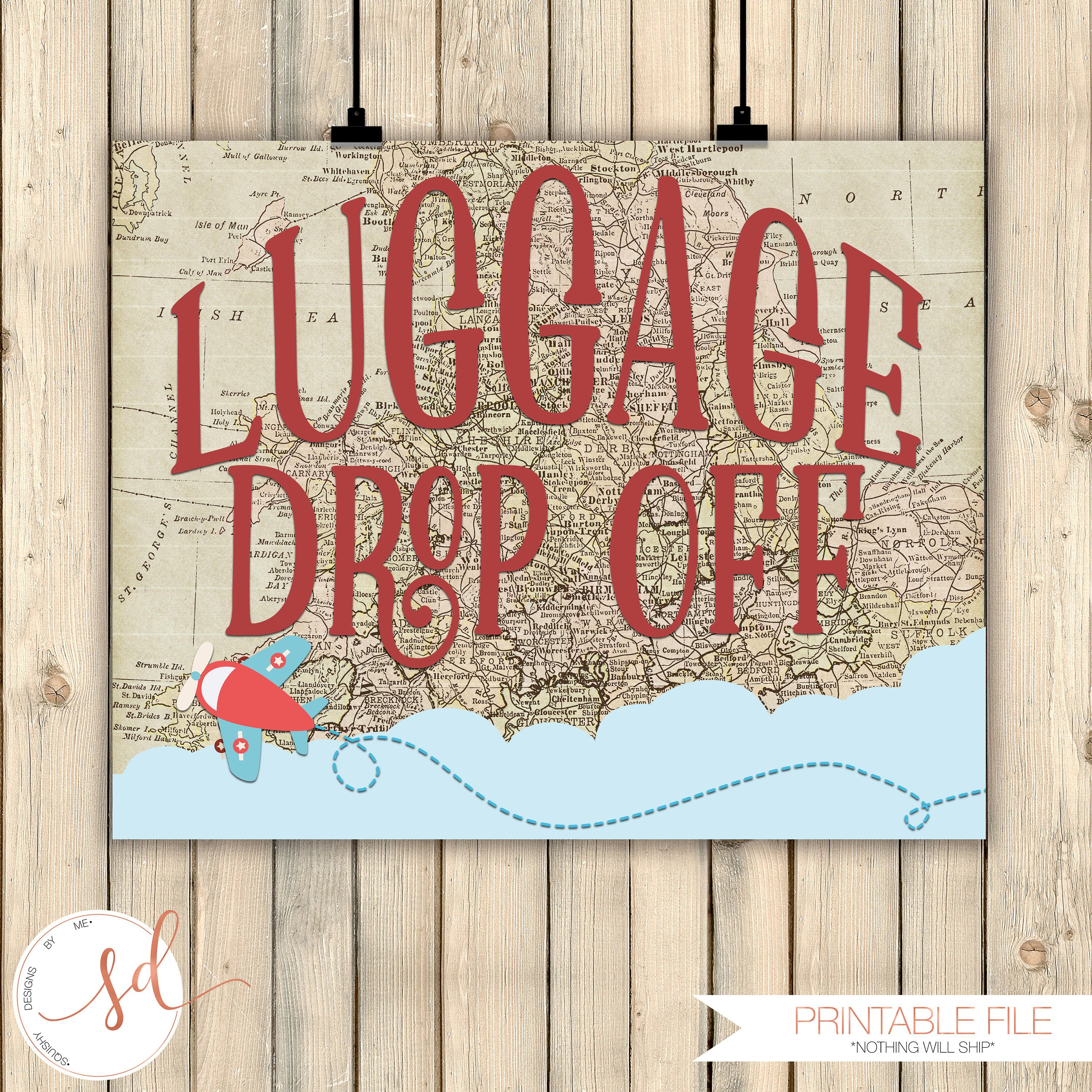 Vintage Travel Airplanes Birthday Party Sign, Baggage Drop Off Sign, Around  the World Theme Decor, Baby Shower Decor, Old Maps Decor Digital by ...