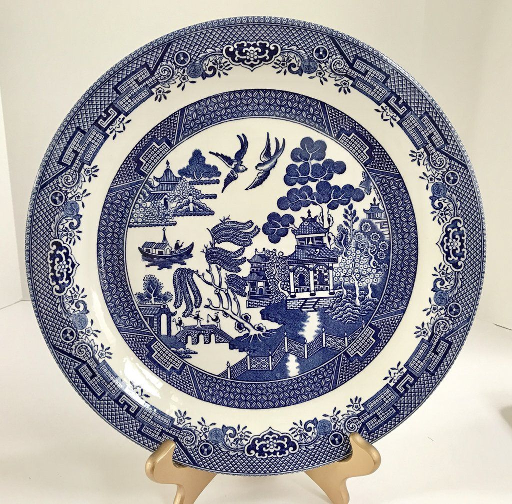 Vintage Churchill 12 1 2 Willow Ware Chop Plate Serving Dish Blue Willow China Pattern Blue Willow China Willow Pattern