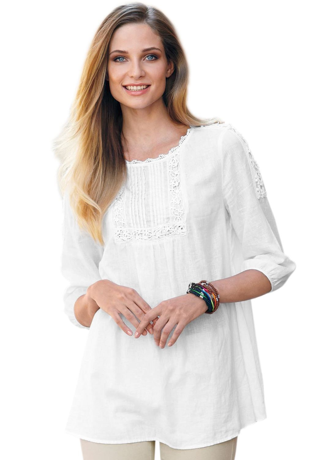 """Soft and pretty plus size crochet linen-blend tunic by Ellos® looks so modern, flatters so beautifully—in a way only  European fashions can. Note the design features that balance and enhance  fit: the crochet-trimmed scoop neck brings attention to your face,  keeps you cool and is bra friendly...3/4 set-in sleeves offer coverage  without the heat, maximum comfort and best mobility.  relaxed fit offers ease of movement 30"""" length hits the upper-thigh  round neck is detailed with cr..."""