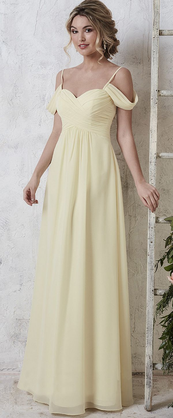 [88 99] Delicate Chiffon Spaghetti Straps Neckline ALine Bridesmaid Dresses With Pleats is part of Bridesmaid dresses - Delicate Chiffon Spaghetti Straps Neckline ALine Bridesmaid Dresses With PleatsFabric ChiffonDetails It shows you how to do simple glamour with this stunning gown  This dress has spaghetti straps neckline with short offtheshoulder style sleeves  Fine criss cross pleats work throughout the bodice  This dress has a nipped waist and flowing skirt with a full length hem  It is made of chiffon and stretch satin