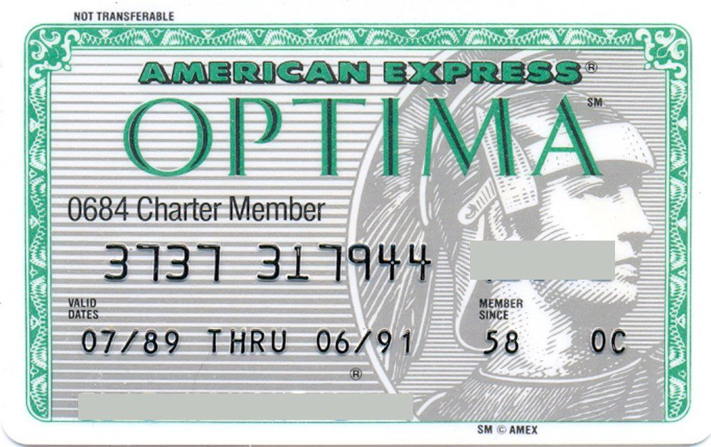 American Express Usa >> American Express Optima Charter Member Green American