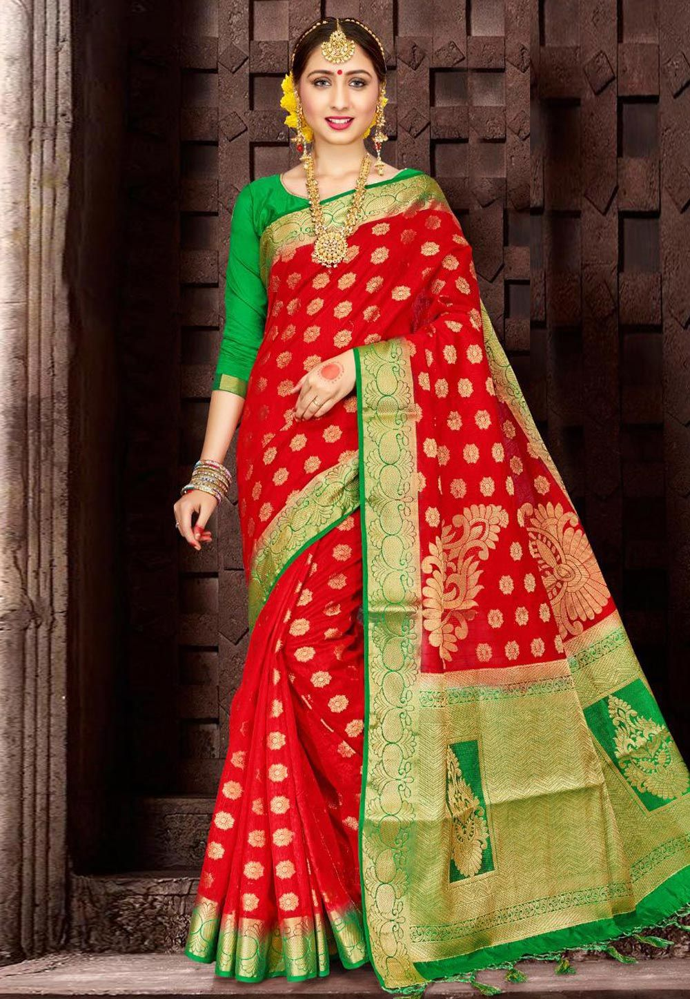389dd64641d26 Buy Red Banarasi Silk Saree With Blouse 156387 with blouse online at lowest  price from vast collection of sarees at Indianclothstore.com.