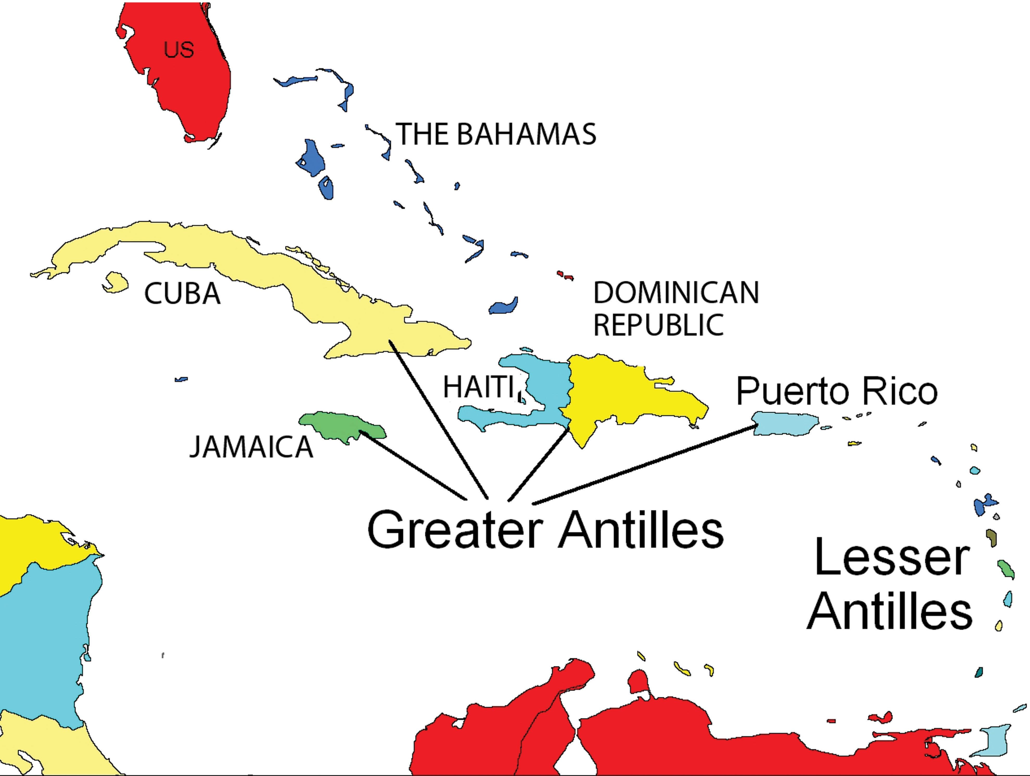 Caribbean Regions Of The Greater Antilles The Lesser