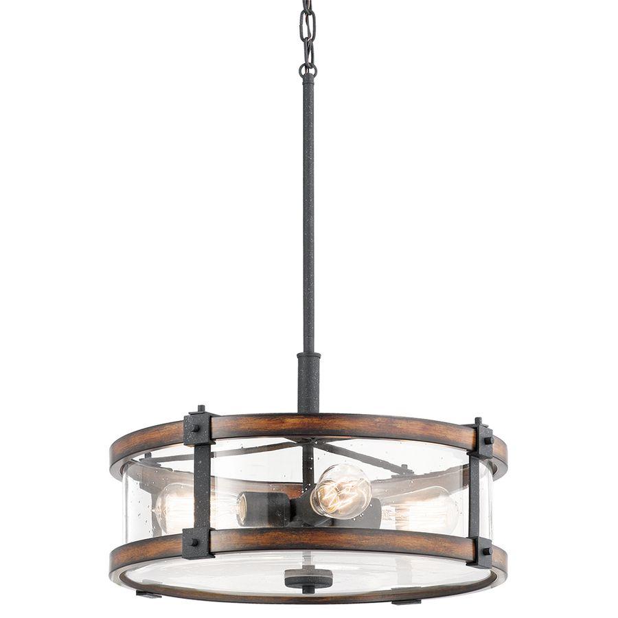 Kichler Lighting Barrington Distressed Black And Wood Rustic Single Seeded  Glass Drum Pendant