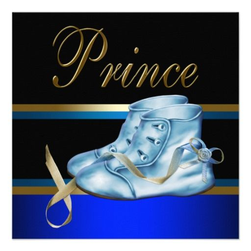 Blue Shoes Black Gold Crown Prince Baby Shower Personalized Announcement