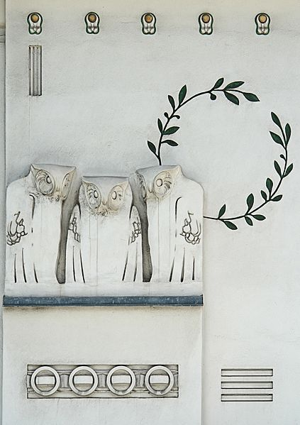 Jugendstil Owls by Koloman Moser. A detail of the facade of the Secession Building in Vienna