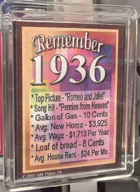 Fun Facts From 1936 Grandpa Birthday 70th Parties 80th Cards Happy
