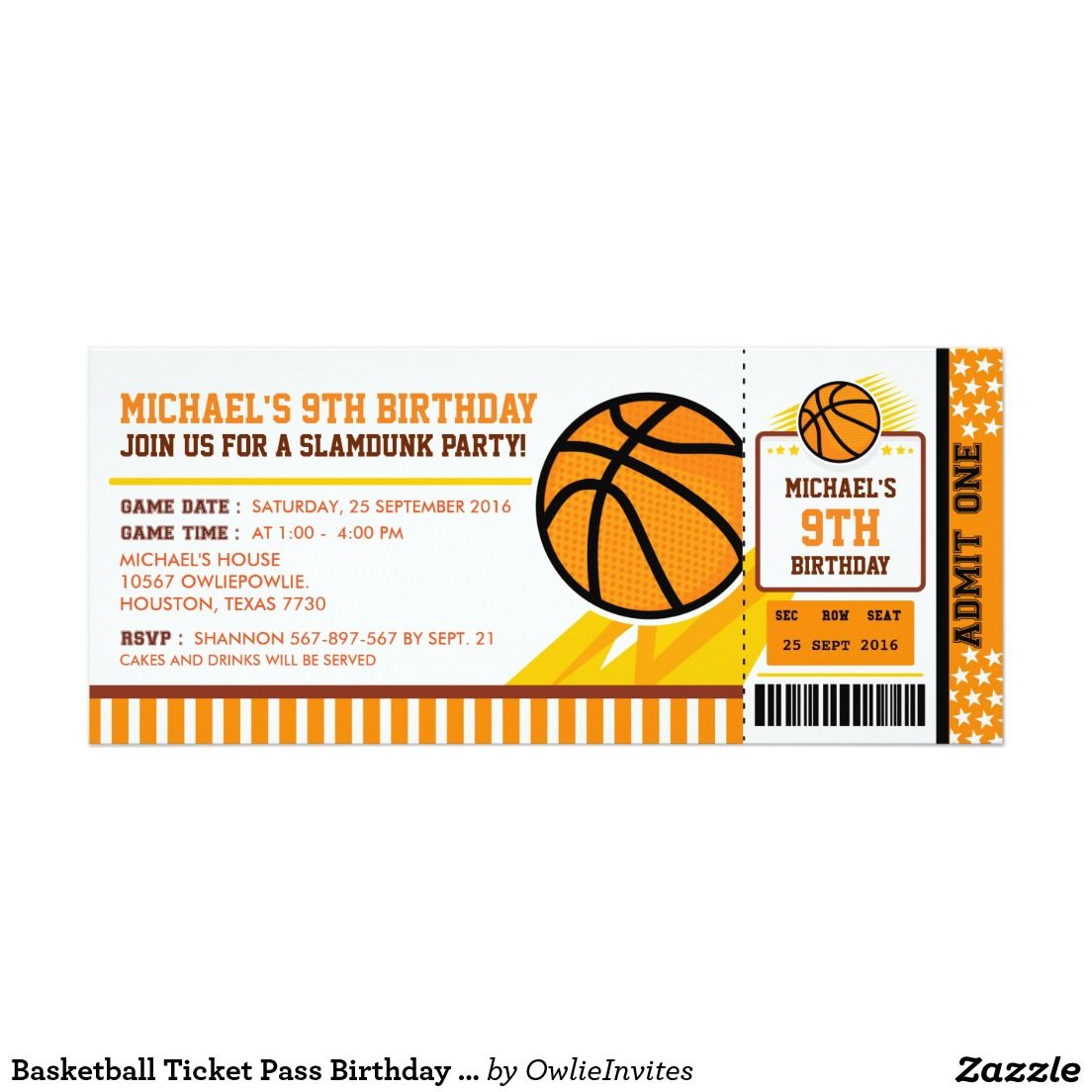 Basketball Ticket Pass Birthday Invitation | Basketball | Pinterest ...