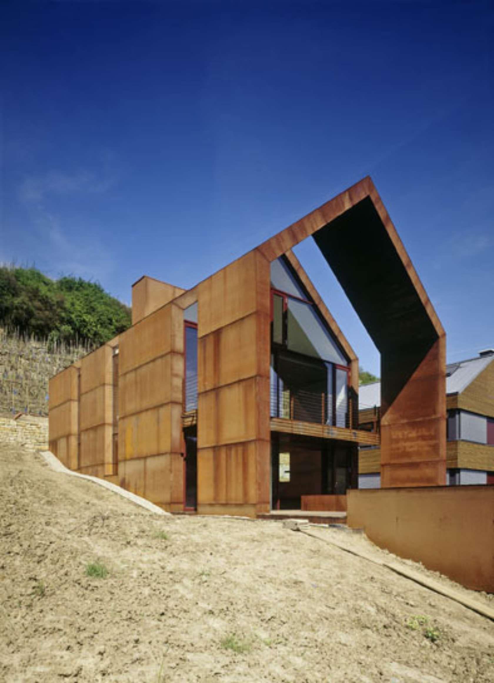 Pavillon modernes haus design moderne häuser luxemburg corten stahl glashaus fassaden moderne architektur architektur