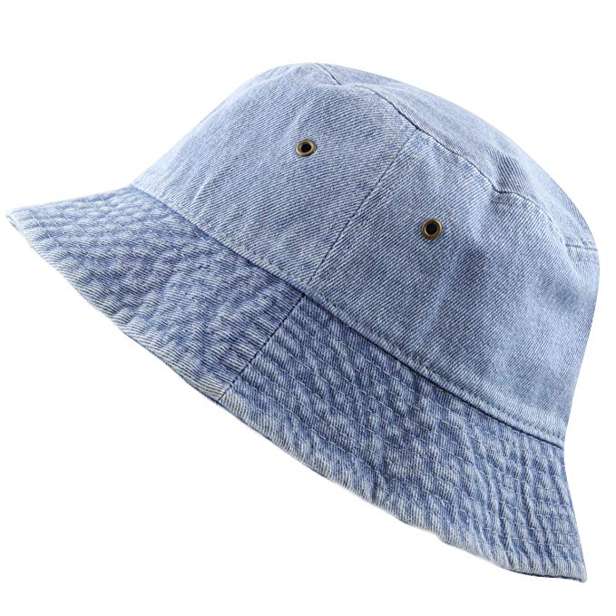 The Hat Depot Washed Cotton Denim Bucket Hat At Amazon Women S Clothing Store Outfits With Hats Hats Bucket Hat