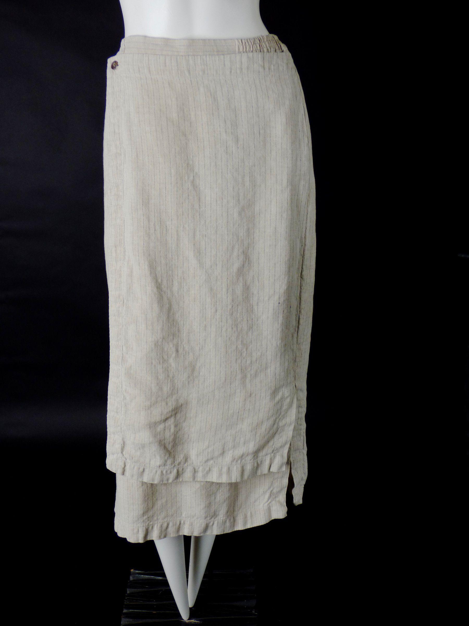ESKANDAR-Linen Pin Stripe Skirt, Size-6