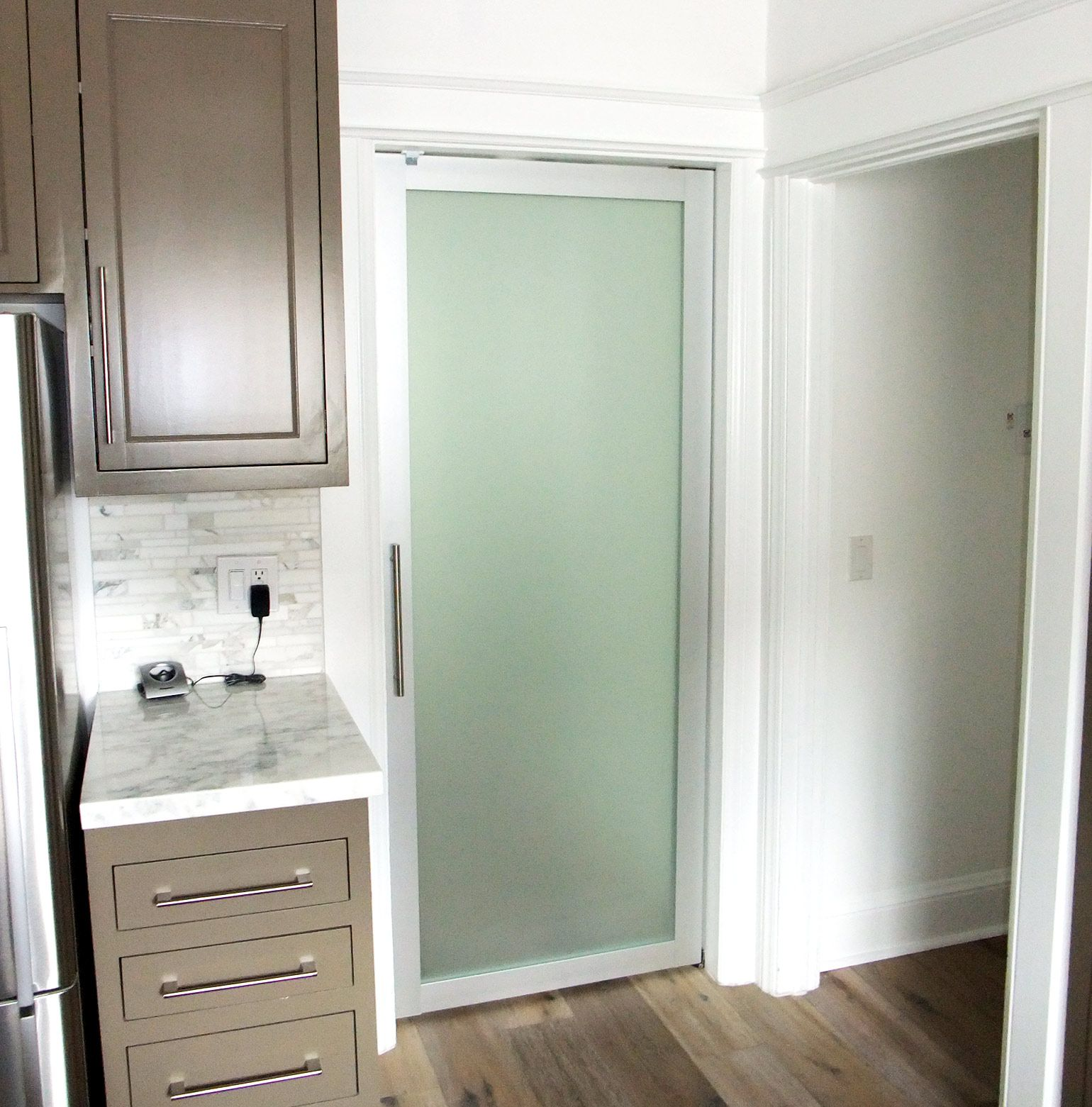 Frosted Glass Swing Door With Sliver Frame Finish Inspirational