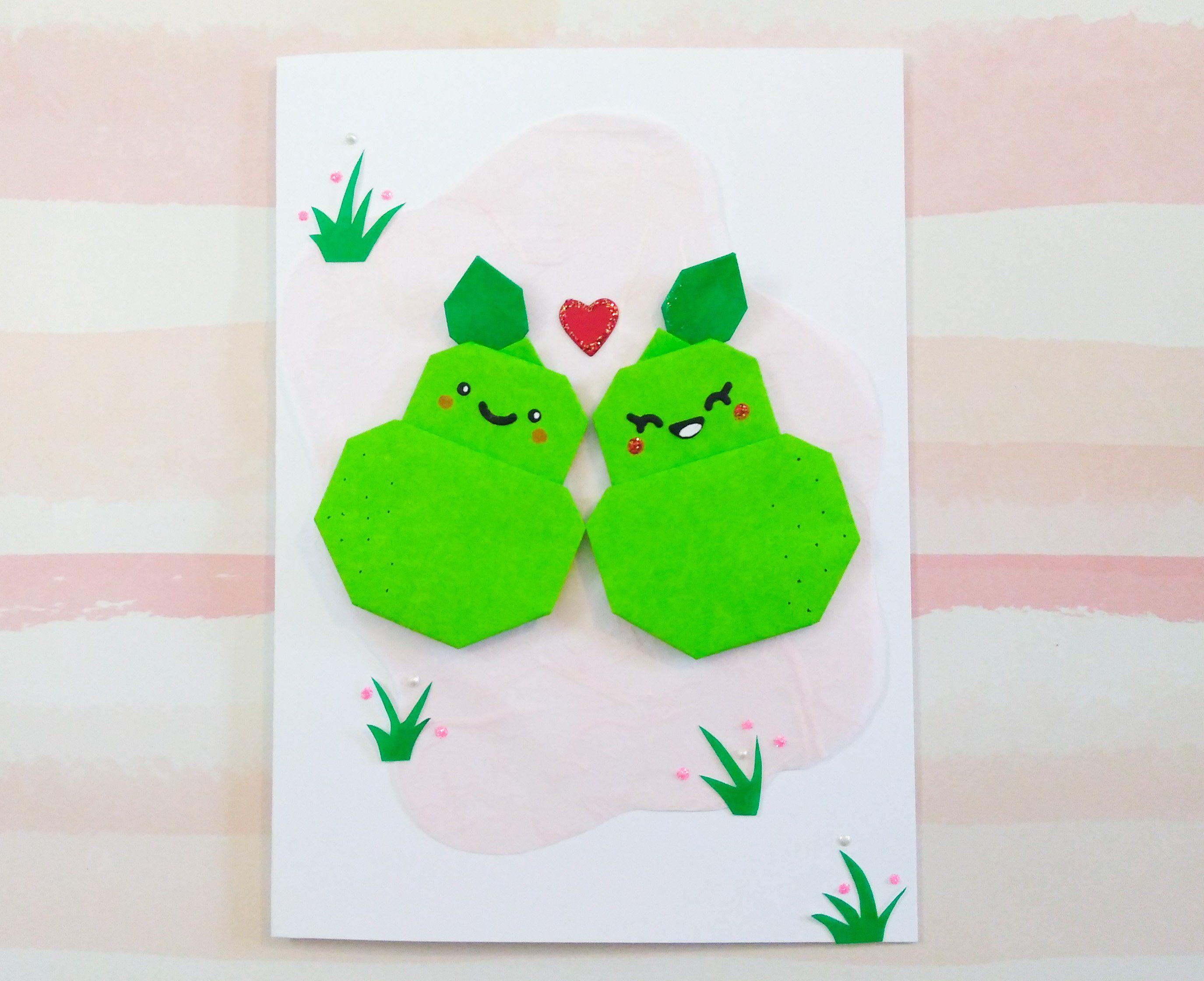 handmade origami pears valentine's day love card