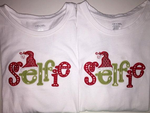 Christmas Selfie Applique Tshirts by RileyAnneBoutique on Etsy