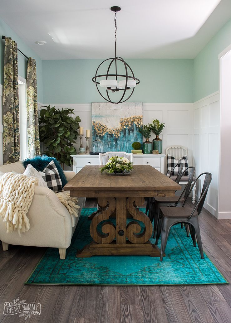 Eclectic Boho Farmhouse Dining Room Design in Teal, Black and White ...