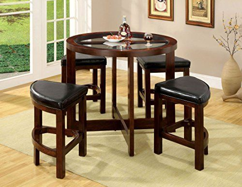 Crystal Cove Dark Walnut Wood 5 Pieces Glass Top Dining Table Set