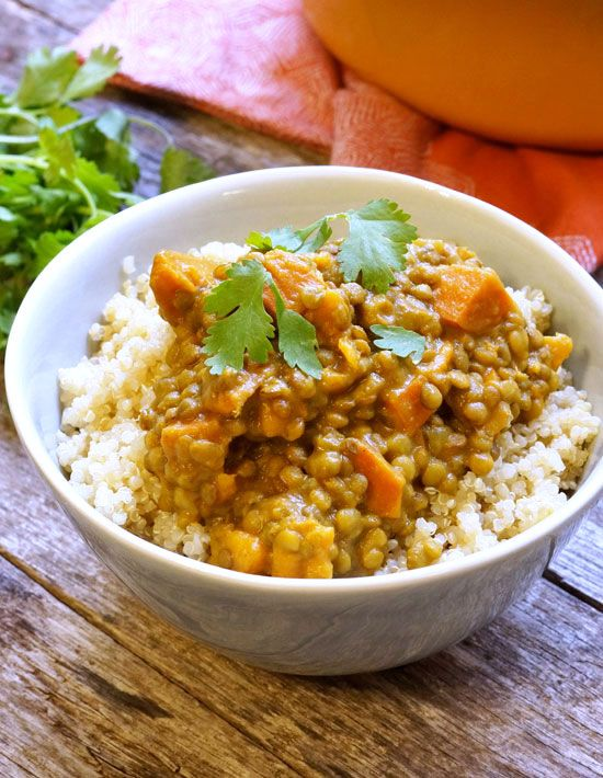 Easy Lentil Sweet Potato Coconut Curry Vegan Recipe