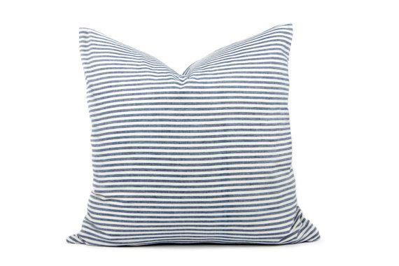 Blue Grey 100 Cotton Stripe Cushion Covers Uk By Linthomeware Striped Cushions Cushion Covers Uk Modern Cushion Covers