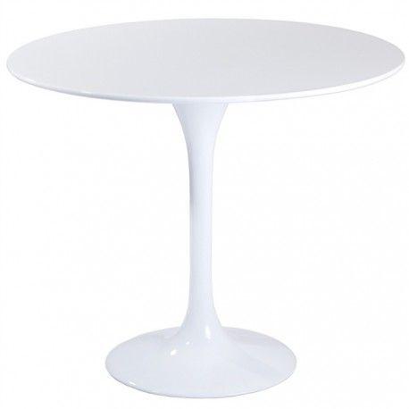 Mesa redonda para cocina con estilo escandinavo, modelo Tul. Mueble moderno y sencillo para decorar tu cocina. Base metálica con acabado pintura laca blanca y tapa lacada blanca