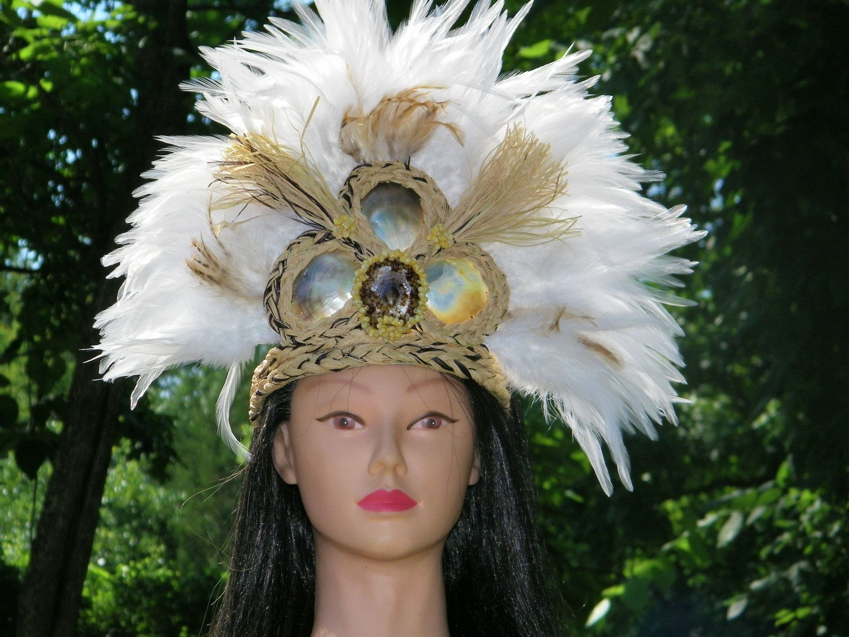 Polynesian Costume Paraphernalia Gently Used As Is Short Poi Maori Kapahaka Islander Fantasy Headdress and Armband Full Of Greens Kupe\u02bbe