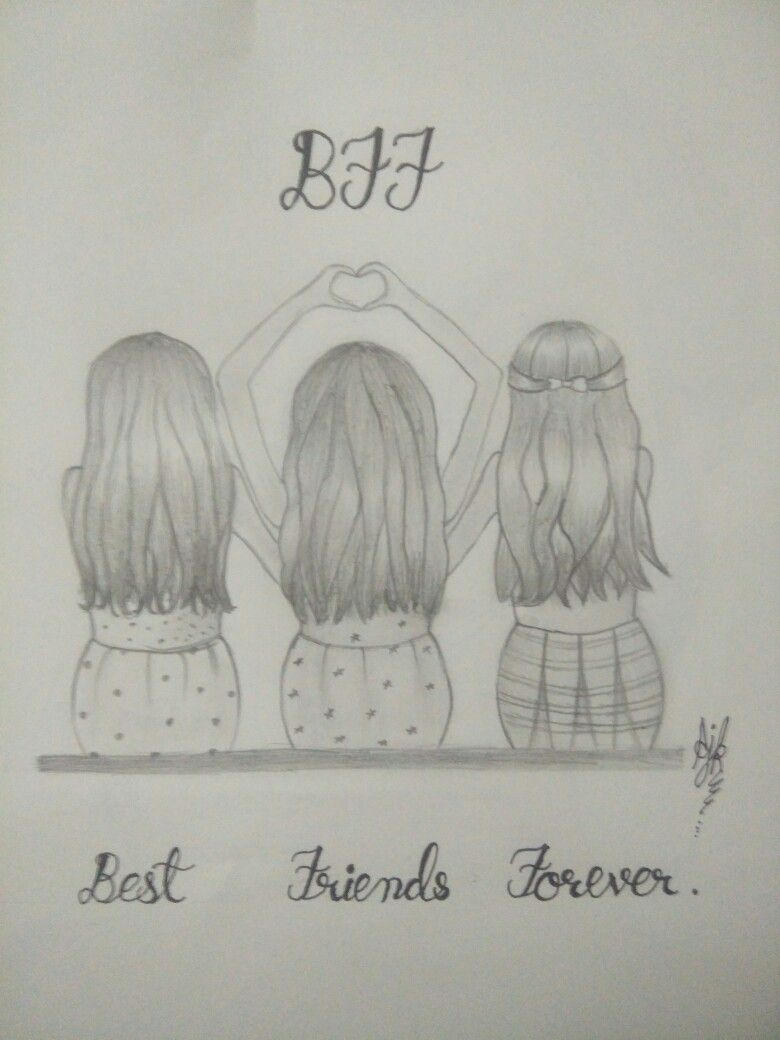 3 Best Friends Drawing : friends, drawing, Three, Friend, Drawing, Drawings,, Friends, Sketch,, Drawings
